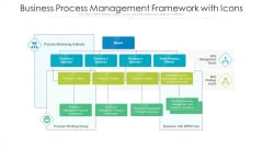 Business Process Management Framework With Icons Ppt PowerPoint Presentation Summary Guidelines PDF
