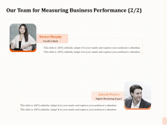 Business Process Performance Measurement Our Team For Measuring Business Performance Designs PDF