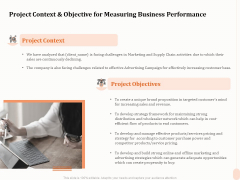 Business Process Performance Measurement Project Context And Objective For Measuring Business Performance Elements PDF