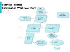 Business Product Examination Workflow Chart Ppt PowerPoint Presentation Visual Aids Infographics PDF