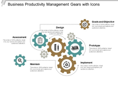 Business Productivity Management Gears With Icons Ppt PowerPoint Presentation Portfolio Format Ideas