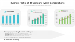 Business Profile Of It Company With Financial Charts Ppt PowerPoint Presentation Model Ideas PDF