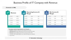 Business Profile Of It Company With Revenue Ppt PowerPoint Presentation Gallery Portrait PDF