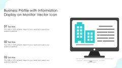 Business Profile With Information Display On Monitor Vector Icon Ppt Icon Clipart Images PDF