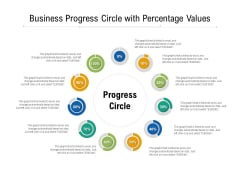 Business Progress Circle With Percentage Values Ppt PowerPoint Presentation File Backgrounds PDF