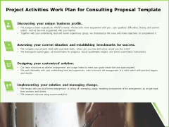 Business Project Activities Work Plan For Consulting Proposal Template Ppt Pictures Graphic Images PDF