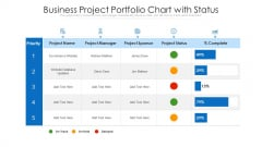 Business Project Portfolio Chart With Status Ppt Pictures Format PDF