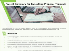 Business Project Summary For Consulting Proposal Template Ppt Outline Mockup PDF