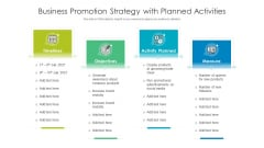 Business Promotion Strategy With Planned Activities Ppt Gallery Themes PDF