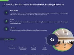Business Proposal About Us For Business Presentation Styling Services Ppt Pictures Vector PDF
