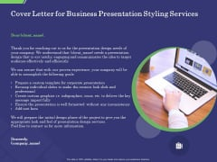 Business Proposal Cover Letter For Business Presentation Styling Services Ppt Summary PDF