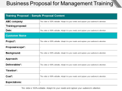 Business Proposal For Management Training Ppt PowerPoint Presentation Gallery Inspiration