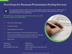 Business Proposal Next Steps For Business Presentation Styling Services Ppt Show Styles PDF