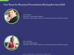 Business Proposal Our Team For Business Presentation Styling Services Communication Structure PDF