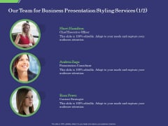 Business Proposal Our Team For Business Presentation Styling Services Ppt Summary Rules PDF