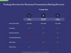 Business Proposal Package Services For Business Presentation Styling Services Ideas PDF