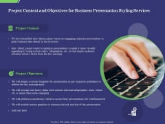 Business Proposal Project Context And Objectives For Business Presentation Styling Services Mockup PDF