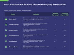 Business Proposal Your Investment For Business Presentation Styling Services Stages Guidelines PDF
