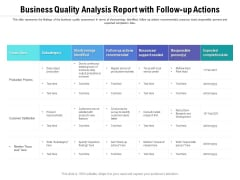 Business Quality Analysis Report With Follow Up Actions Ppt PowerPoint Presentation Gallery Deck PDF