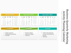 Business Quarterly Marketing Activity Planning Calendar Ppt PowerPoint Presentation Gallery Guide PDF