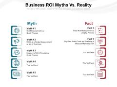 Business ROI Myths Vs Reality Ppt PowerPoint Presentation Gallery Microsoft PDF