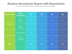 Business Recruitment Report With Departments Ppt PowerPoint Presentation File Graphics Download PDF