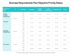 Business Requirements Plan Objective Priority Status Ppt PowerPoint Presentation Outline Graphics