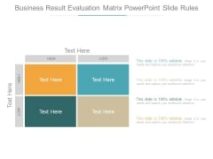Business Result Evaluation Matrix Powerpoint Slide Rules