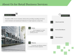 Business Retail Shop Selling About Us For Retail Business Services Brochure PDF