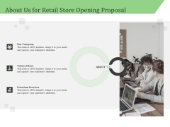 Business Retail Shop Selling About Us For Retail Store Opening Proposal Infographics PDF