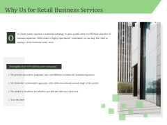 Business Retail Shop Selling Why Us For Retail Business Services Portrait PDF