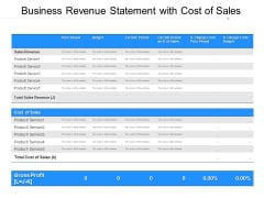 Business Revenue Statement With Cost Of Sales Ppt PowerPoint Presentation Gallery Inspiration PDF
