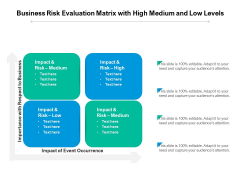 Business Risk Evaluation Matrix With High Medium And Low Levels Ppt PowerPoint Presentation Professional Graphics Example PDF