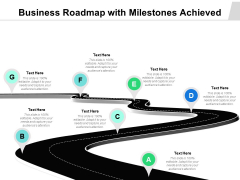 Business Roadmap With Milestones Achieved Ppt PowerPoint Presentation Gallery Ideas PDF