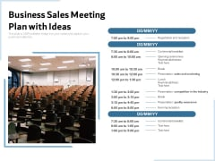 Business Sales Meeting Plan With Ideas Ppt PowerPoint Presentation File Deck PDF