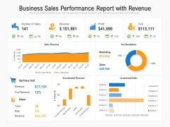 Business Sales Performance Report With Revenue Ppt PowerPoint Presentation Layouts Information PDF