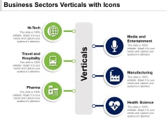 Business Sectors Verticals With Icons Ppt PowerPoint Presentation Visual Aids Pictures PDF