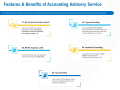 Business Service Provider Features And Benefits Of Accounting Advisory Service Infographics PDF