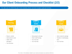 Business Service Provider Our Client Onboarding Process And Checklist Contract Themes PDF