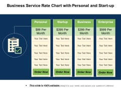 Business Service Rate Chart With Personal And Start Up Ppt PowerPoint Presentation Slides Portfolio PDF