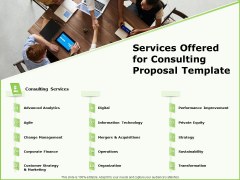 Business Services Offered For Consulting Proposal Template Ppt Infographic Template Graphics PDF
