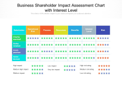 Business Shareholder Impact Assessment Chart With Interest Level Ppt PowerPoint Presentation Gallery Model PDF