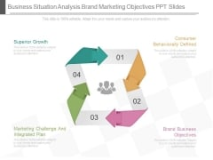 Business Situation Analysis Brand Marketing Objectives Ppt Slides