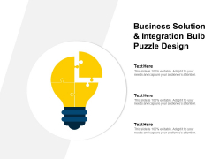 Business Solution And Integration Bulb Puzzle Design Ppt PowerPoint Presentation Rules