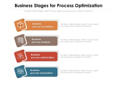 Business Stages For Process Optimization Ppt PowerPoint Presentation Professional Background Designs PDF