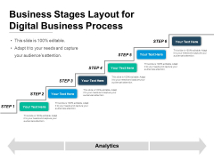 Business Stages Layout For Digital Business Process Ppt PowerPoint Presentation Model Graphics Design PDF