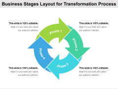 Business Stages Layout For Transformation Process Ppt PowerPoint Presentation Icon Gallery PDF