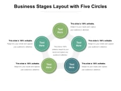 Business Stages Layout With Five Circles Ppt PowerPoint Presentation Model Graphics Download PDF