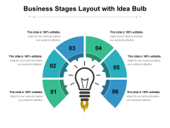 Business Stages Layout With Idea Bulb Ppt PowerPoint Presentation Slides Gallery PDF