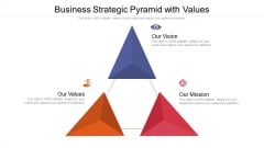 Business Strategic Pyramid With Values Ppt PowerPoint Presentation Gallery Design Ideas PDF